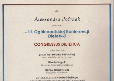 StomaDiet - Dietetyka Certyfikaty 1 Aleksandra Poźniak