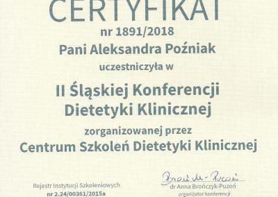 StomaDiet - Dietetyka Certyfikaty 2 Aleksandra Poźniak