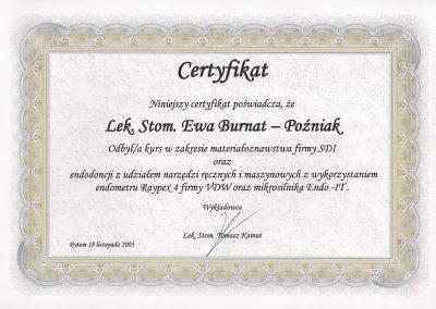 StomaDiet - Stomatologia Bytom Certyfikat 1 Ewa Burnat-Poźniak
