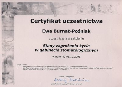 StomaDiet - Stomatologia Bytom Certyfikat 2 Ewa Burnat-Poźniak