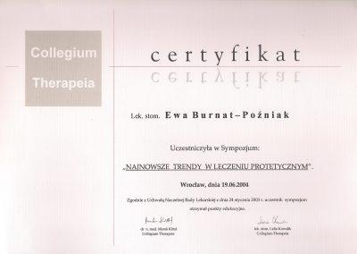 StomaDiet - Stomatologia Bytom Certyfikat 3 Ewa Burnat-Poźniak