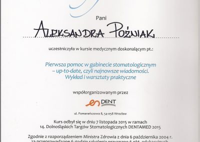 StomaDiet - Stomatologia Bytom Certyfikat Aleksandra Poźniak 1